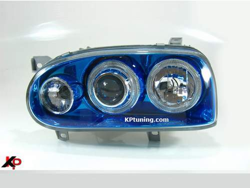 Faros delanteros angel eyes azules con intermitente VW Golf 3