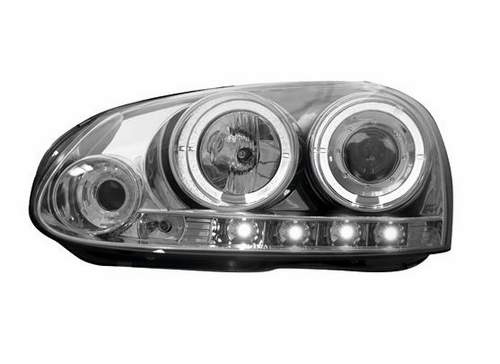 Faros delanteros angel eyes + luz diurna look A5 para VW Golf V