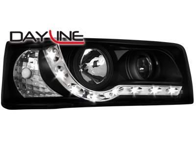 Faros delanteros luz diurna DAYLINE para VW T4 90-03 negros