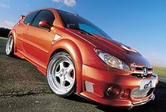 Faldones laterales taloneras Peugeot 206 kit Impact R Esquiss