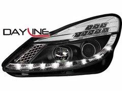 Faros delanteros luz diurna DAYLINE para Opel Corsa D 06+ TFL-Optik negros